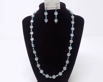 Necklace and earrings set, blue and clear beads