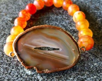 Tan agate stretch bracelet