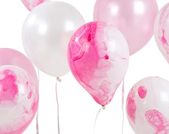 Pink Marble Balloons   Balloons   Marble Balloons   Party Balloon   Large Balloon   Pink Balloon   12 per pack   Party Decorations   12 inch