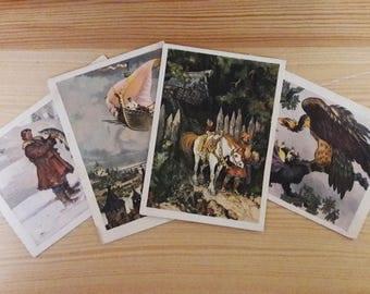 Set of 4 Unused postcards 1956s Old soviet postcards Propaganda ussr Russian folk tale Tale card Made in ussr Soviet vintage Soviet souvenir