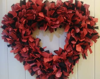 Valentines Day, heart, rag wreath, material wreath, wall decor, front door decor, red wreath, anniversary, gifts for her, love