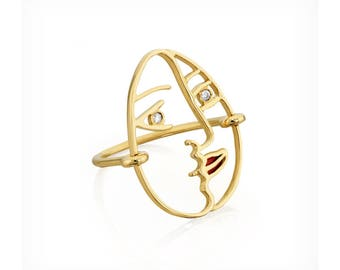 Picasso Face ring