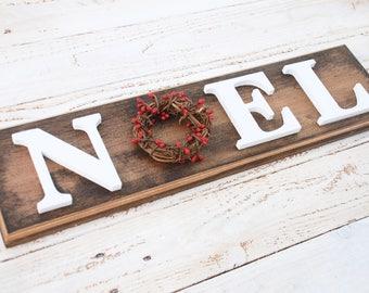 Wooden Noel Christmas sign - Farmhouse Christmas Decor - Red berry wreath, mantle decor, Christmas gift