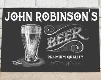 Personalized Premium Beer Canvas Sign - Beer Canvas Print - Personalized Bar Room Print - Pub Canvas Print - Bar Room Wall Decor - Pub Decor