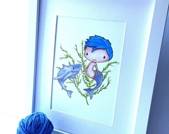 Merboy with Shark Friend -5x7 Art Print