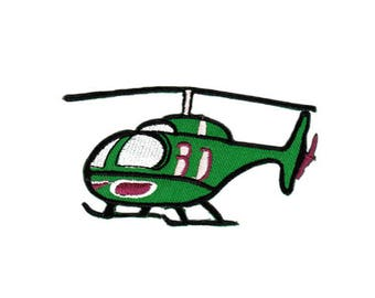 AO60 Helicopter green helicopter application patch patches Small size 9.4 x 5.0 cm
