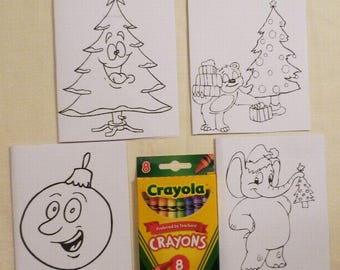 Kids set of 4 Color Me Card Christmas Cards and a Pack of Colors, Child's All Occasion Card, Handmade Greeting Cards, Made in the USA, #23