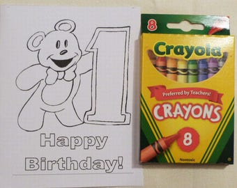 Kids Birthday Year 1 Color Me Cards and a Pack of Colors, Child's  All Occasion Card, Handmade Greeting Cards, Made in the USA, #26