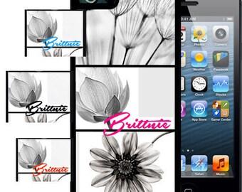 Personalized Rubber Case For iPhone X, 8, 8 plus, 7, 7 plus, 6s, 6s plus, 5, 5s, 5c, SE - White Black Flowers