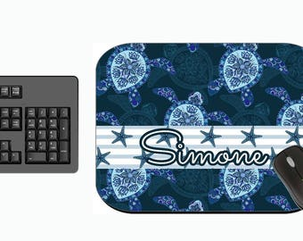 Personalized Mouse Pad - Blue Turtle Starfish