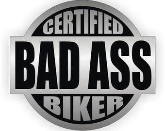 """2 pcs bad ass biker shop hard hat helmet Sticker Decal 2.5"""" Window"""