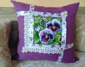 Handmade embroidered cushion with violets