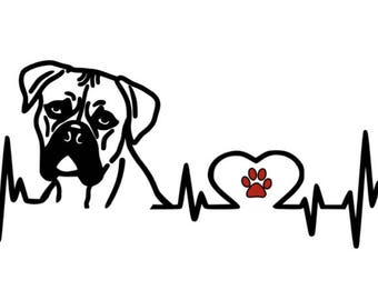 Boxer Heartbeat Decal, Vinyl Decal, Car Decal, Boxer, Dog, Love My Boxer, Laptop Decal, Black, White