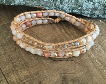A1041 Leather Double Wrap Bracelet with Agate and Crystal Beads