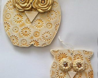 Pair of 2 Owls Wall Decor Ceramic Sculpture Hanging Figurine Collectible Ornaments