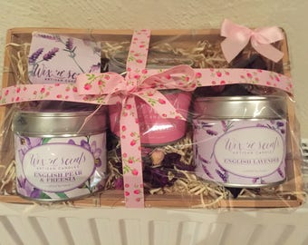 Hamper of scented candles
