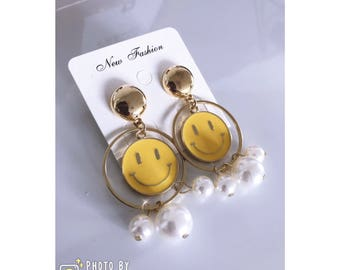 Artificial Jade Gold Pated Smiley Face Drop Earrings - Two Designs
