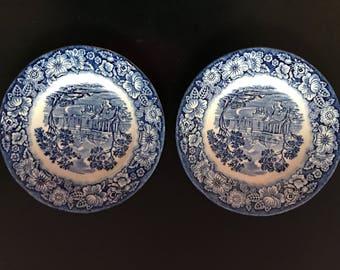 Staffordshire Liberty Blue Dessert Plates