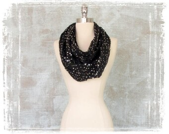 Sequin Scarf Holiday, Infinity Scarf, Sequin Scarf, Black, Silver, Evening Scarf
