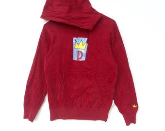 Jean Michel Basquiat Red colour Big Logo Embroidery Sweat Medium Size Jumper Pullover Jacket Sweater Shirt Vintage 90's