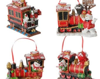 "4.5 "" Train Ornament set of 4"