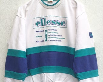 Vintage ELLESE Embroidered Logo Print Sweatshirt Pullover Casual Mods