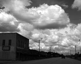 Living Room Decor, Black and White Photography of Cumulus Clouds in a Small Texas Town, Texas Print, Apartment Decor, Rustic Home Decor