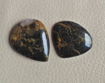 Black Pilbara Jasper 2 Piece Gemstone Size 34x27x7, 27x31x6 MM Approx, Weight 60 Carat Fancy Shape Gemstones, Wholesale Jasper.