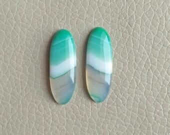 Green Natural Botswana Agate Matching Pair Gemstone, 24 Carat Designer Cabochon Gemstone, Beautiful Jewelry Pair Earring Gemstones.