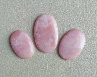 Natural Pink Opal Cabochon, 3 Piece Pink Opal Gemstone, Sooth Natural Pink Opal Loose Gemstone, Pink Opal Stone, Handmade Jewelry Stone.