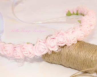 Pink Rose Flower Crown/ Flowergirl crown /