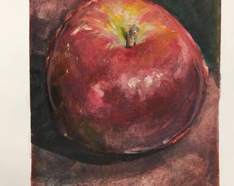 Apple watercolor fruit painting