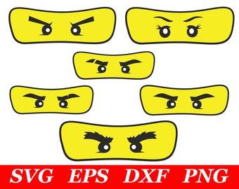 6 Pieces Ninja Eyes Mask SVG