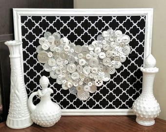 Vintage Button Wall Art 11x14