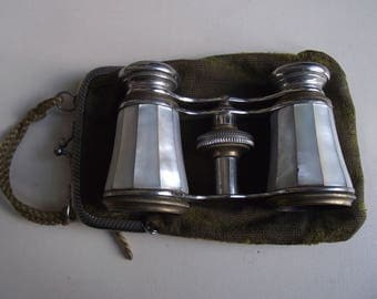 Vintage Mother of Pearl Opera Glasses with Case
