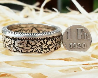 Silver Swiss Coin Ring - Switzerland 2 and 1 Franc Coin - Helvetia - Silver rings - Silver rings from Swiss coins - Swiss Jewelry