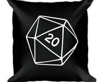 Black & White D20 Square Pillow