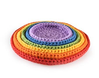 rainbow crochet nesting and stacking plates, nesting and stacking bowls, Montessori toys, Waldorf toys, play and learn, handmade