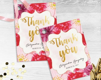 Floral Foil Thank You Tag