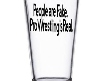 People are Fake WWE Wrestler Wrestling Pint Wine Glass Tumbler Alcohol Drink Cup Barware Squared Circle