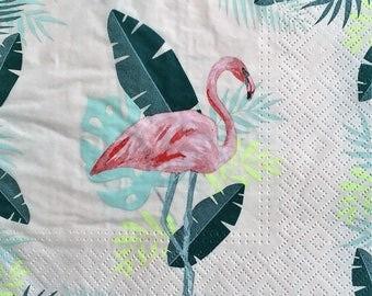4 pink Flamingo bird paper napkins