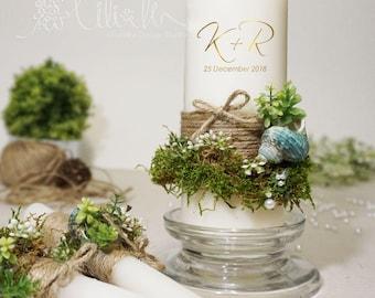 Personalized Garden wedding Unity Candle Set, Moss wedding Decor,Handmade, Nature lovers Wedding candles, Beach Wedding Candles (3pc set)