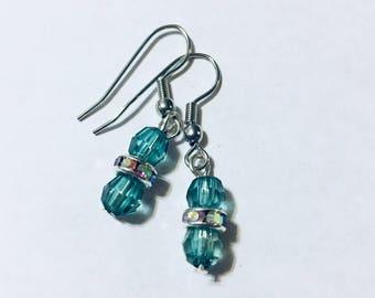 Blue Beaded Dangle Earrings