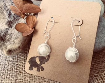 Wire-Wrapped Pearl Statement Earrings