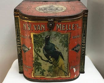 Large Vintage Toffee Tin from Holland | Van Melle Confectioners | Orange Vintage Tin | Bird Theme | Tin Box | Vintage Decorative Storage Tin