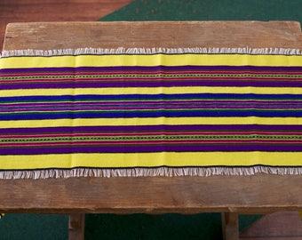 Woven overlay napkin wool stripes Folk Art Polish pasiak