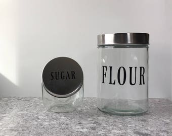 Set of Two Kitchen Storage, Kitchen Canisters, Flour and Sugar Storage, Housewarming Gift