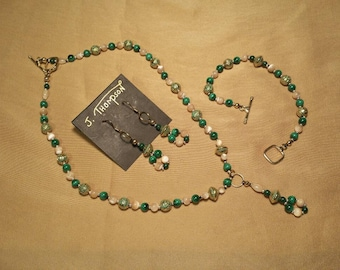 Malachite and mother of pearl