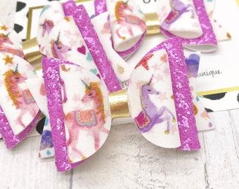Lilac/violet unicorn fabric & glitter Medium hair bow clip headband hair accessories