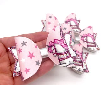 Pink Pegasus unicorn fabric & glitter Dolly hair bow clip headband
